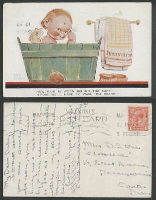MABEL LUCIE ATTWELL 1928  Old Postcard Girl Having a Bath Wash Hair is Worn 1300
