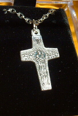 GOOD SHEPHERD PAPAL 1 1/8 in Cross Silver Plated Pendant / Necklace 19 in  SMALL