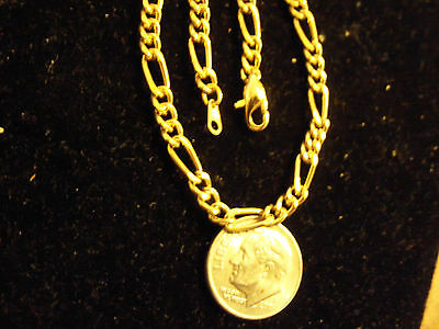 bling gold Plated 4MM 20 IN figaro average chain necklace skinny hip hop jewelry