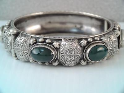 Lg Antique Etruscan 800 Silver Italy Green Stone Bangle Bracelet Very Ornate