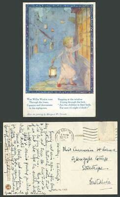 Margaret W Tarrant Old Postcard Wee Willie Winkie in Nightgown Lantern 8 O'clock