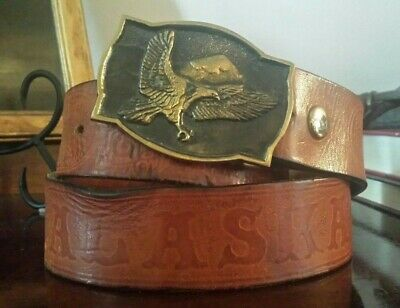 Vintage BTS Solid Brass Eagle Belt Buckle 1978 Tooled Leather Alaska Belt USA