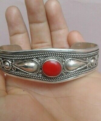 EXTREMELY ANCIENT RARE BRACELET VIKING BRONZE inlay coral ANTIQUE VINTAGE