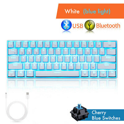1a8a02c4812 Blue Backlit Mechanical Gaming Keyboard 61 Keys Cherry MX Blue Switch  Wireless