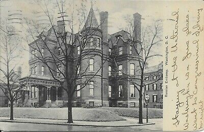 RUSSIAN EMBASSY, WASHINGTON DC handsome vintage postcard postally used in  1908