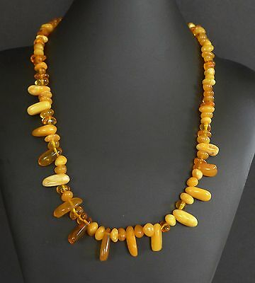 34 Grams Vintage Baltic Butterscotch Amber Bead Nugget Necklace