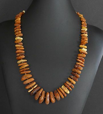 36 Grams Vintage Baltic Dark Butterscotch Amber Bead Nugget Necklace