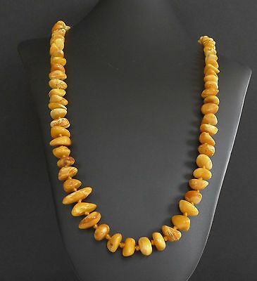 47 Grams Vintage Baltic Butterscotch Amber Bead Nugget Necklace