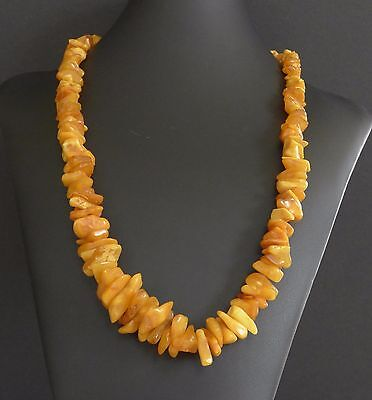 65 Grams Vintage Baltic Butterscotch Amber Bead Nugget Necklace