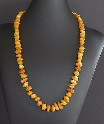 27 Grams Vintage Baltic Butterscotch Amber Bead Nugget Necklace