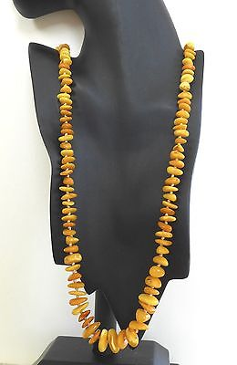"""Vintage Baltic Butterscotch Egg Yolk Amber Bead Necklace 30"""" Long Knotted"""