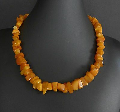 38 Grams Vintage Baltic Butterscotch Amber Bead Nugget Necklace