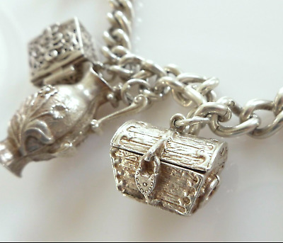 Vintage English Sterling Silver Charm Bracelet Heart Padlock Trinket Chest Swan