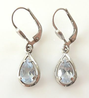 Vtg 925 Sterling Silver Blue Spinel Dangle Drop Earrings