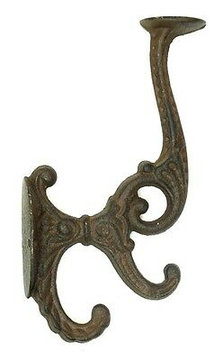 Solid CAST IRON Set of 2 Victorian Wall Double Hook Hanger Coat, Hat  Heavy Duty