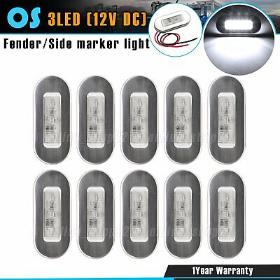 10 x White LED 12V Boat Marine Oval Sealed Surface Mount Polished Courtesy Light