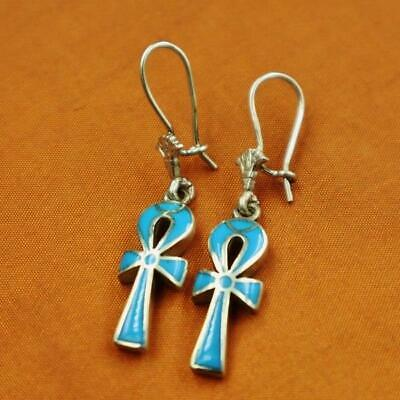 Amazing Egyptian Solid Sterling Silver Earrings Ancient Cross ANKH Key of Life