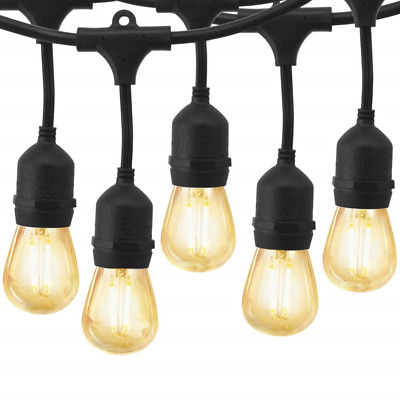 48Ft Outdoor String Lights, YZtree LED Commercial String Lights with 15 Dimmable