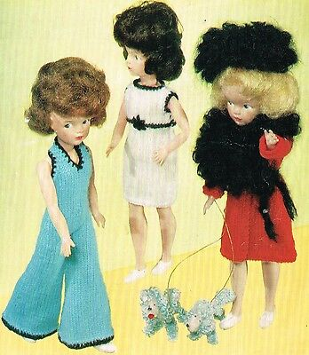 "V Doll 20 12/""  teenage Dolls clothes knitting pattern.Laminated copy."