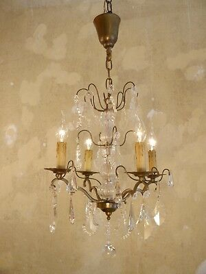 Beautiful Antique French Chandelier Brass Rare Crystal Old Lustre