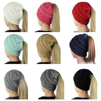 Womens Beanie Cap Tail Messy High Bun Ponytail Hat Knit Hole Slouchy Knit Hat AU