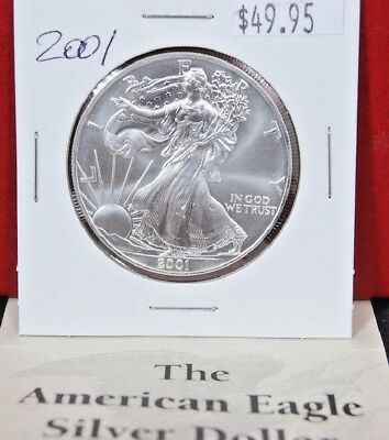 2001 Silver American Eagle BU 1 oz Coin US $1 Dollar Uncirculated Brilliant Mint