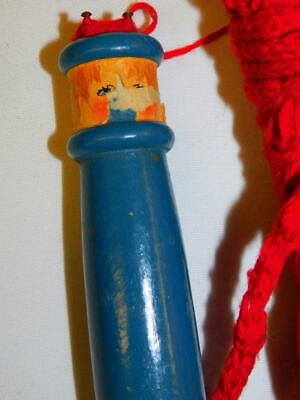 Vintage KNITTING NANCY KNOBBY SPOOL Loom Blue Wooden with Red Yarn