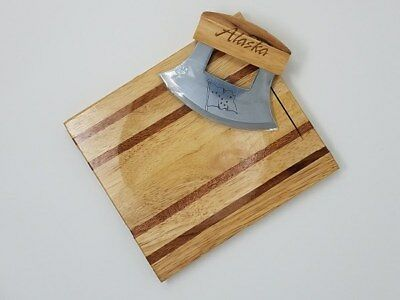 Alaskan Ulu Handle Knife & Chopping Bowl Board
