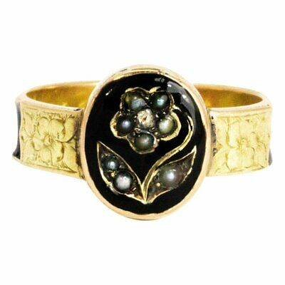 Victorian Pearl and Enamel 9 Carat Gold Forget Me Not Mourning Ring
