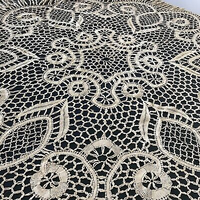 ANTIQUE GERMAN ART DECO TABLECLOTH 1930s HAND MADE LINEN BOBBIN LACE VINTAGE