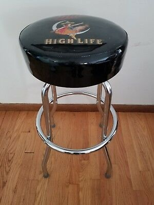 (L@@K) Miller high life beer girl on moon bar pub stool Game Room man cave new