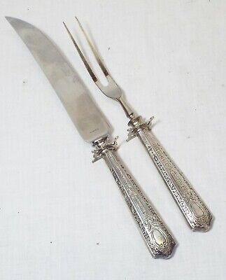 Old Antique GHF G.H. FRENCH & CO. Ornate Pattered STERLING SILVER CARVING SET