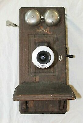 Old Antique WESTERN ELECTRIC Dark Oak Hand Crank WALL TELEPHONE