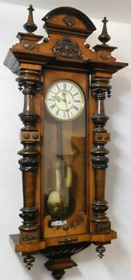 nice quality walnut cased double weight vienna wall clock