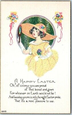 "1910s Holiday Greetings Postcard ""A HAPPY EASTER"" Girl / Yellow Dress UNUSED"