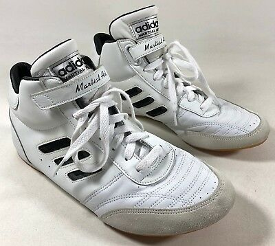 separation shoes 7e7a7 5fa01 adidas Martial Arts MMA White Black 3-Striped Leather Shoes Men s 8.5 to 9  NWOB