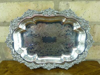 nice Vintage Chased Serving bowl silver plated on copper decorated rim
