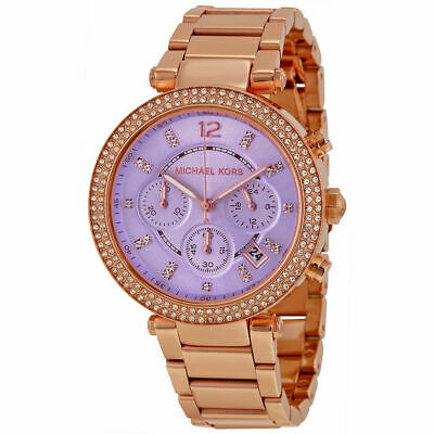 Michael Kors MK6169 Parker Rose Gold Purple Women's Watch,