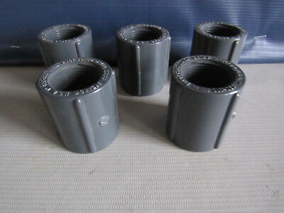 """Lot of 5 Spears 830-010 PVC Schedule 80 1"""" FPT Coupling Fitting NSF-PW D2464 USA"""