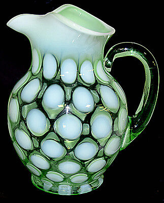 Fenton Dot Optic / Coin Spot Green Opalescent #1353 Pitcher with Green Handle