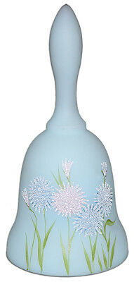 Fenton Frosted Asters on Blue Satin #1760FA  Petite Bell- ARTIST SIGNED