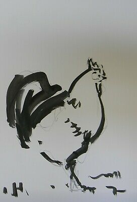 JOSE TRUJILLO Acrylic Painting Expressionist Chicken Rooster Farm Black & White