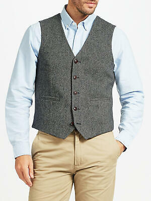 "John Lewis Mens Herringbone Wool Tweed Style Waistcoat , Grey Small 35"" - 37"""