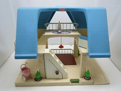 VINTAGE Little Tikes Blue Roof Dollhouse stroller and vacuum  RARE HTF!