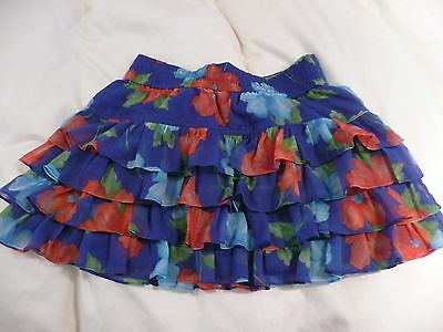 Hollister Girls Ladies Xmas Blue Red Green Floral Short Mini Skirt - Small BNWT