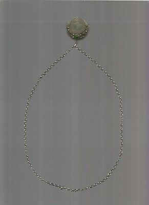 antique ottoman silver,PENDANT FILIGRE WITH COIN AND CHAIN,HANDMADE XIX th.CENTU