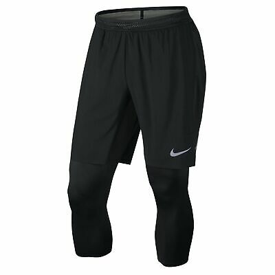 7f91e9afa2b8 Nike Men s Aeroswift 2 in 1 3 4 Hybrid Running Tights Pants Shorts 852321  010