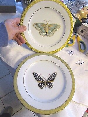 "GOLD BUFFET ROYAL GALLERY 8-3/8"" lot of 2 plates GOLD with Butterfly - DEBLOT"