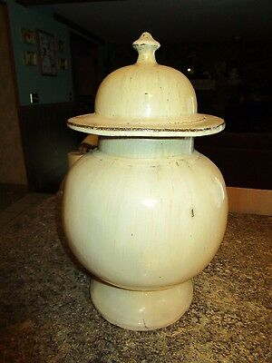 """Antique Urn with finial lid ceramic 16.5"""" tall beige heavy color number - DEBLOT"""