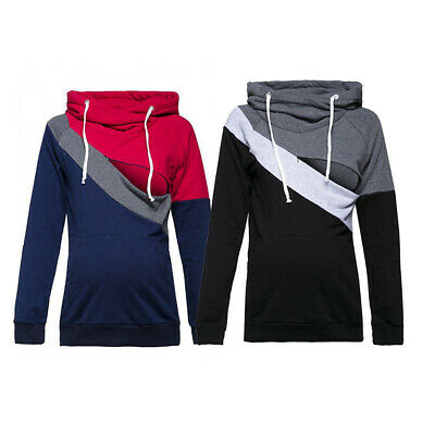 Pregnant Women Long Sleeve Pullver Top Tri-color Stitching Breastfeeding Hoodie